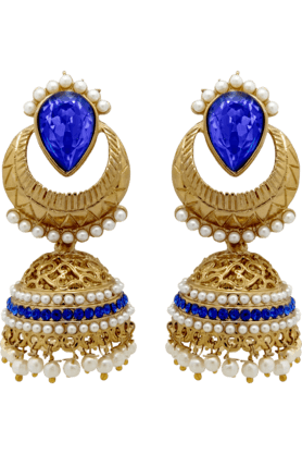 DONNA Traditional Ethnic Teardrop Jhumki Earrings With Blue Crystals & Artificial Pearls For Women By Donna ER30016G