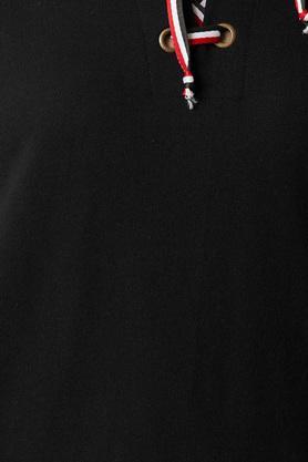 Womens Criss Cross Neck Twill Tape Detailing Solid Sweatshirt