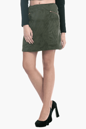 FABALLEY Womens A-line Mini Skirt