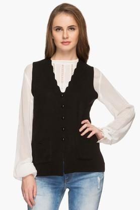 APSLEY Womens V Neck Knitted Solid Cardigan - 201575085