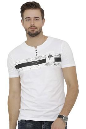 Mens Notched Collar Printed T-Shirt