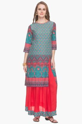 HAUTE CURRY Womens Printed Kurta Skirt Suit