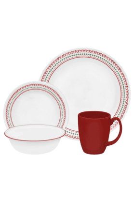 CORELLE Holiday Stitch - Dinner Set (Set Of 16)
