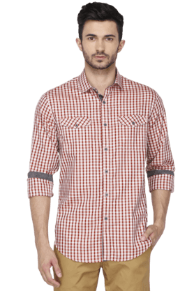 Kenneth Cole Formal Shirts (Men's) - Mens Full Sleeves Slim Fit Casual Check Shirt