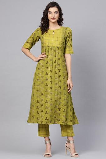 GERUA -  Green Salwar & Churidar Suits - Main