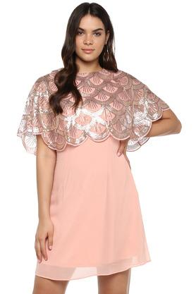 Womens Round Neck Sequined A-Line Dress
