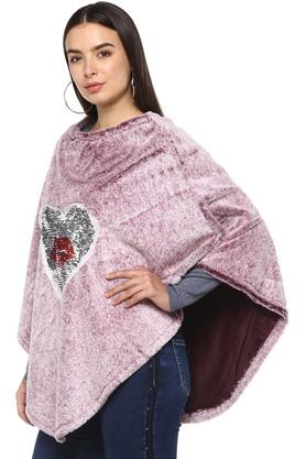 Womens Round Neck Sequined Poncho