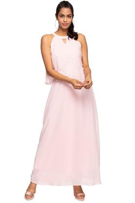 Womens Band Collar Solid Maxi Dress