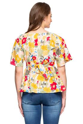 Womens Square Neck Floral Printed Tie Up Top