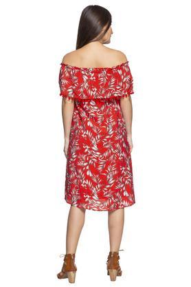 Womens Off Shoulder Neck Printed Knee Length Dress