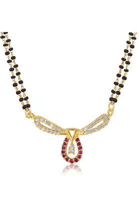 MAHIMahi Gold Plated Bliss Mangalsutra Pendant With CZ & Ruby For Women PS1193516G2