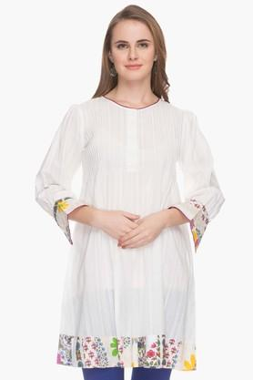 BOHEMYAN BLUE Womens Round Neck Solid Pintuck Kurta - 202000562