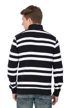 Mens Collared Stripe Knitted Sweatshirt
