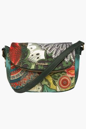 Womens Snap & Zipper Closure Sling Bag