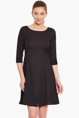 Womens Slim Fit Solid Dress