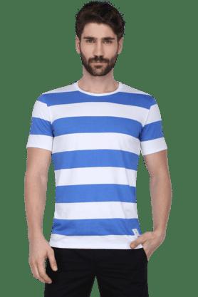 Mens Short Sleeves Round Neck Slim Fit Stripe T-Shirt