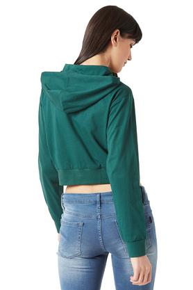 Womens Hooded Neck Boxy Fit Solid Crop Sweatshirt