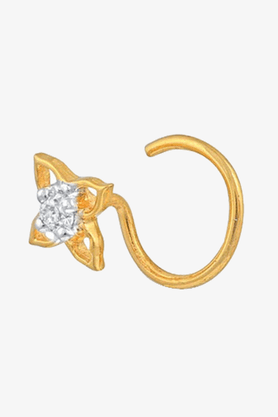VELVETCASEWomens 14 Karat Yellow Gold Nose Ring (Free Diamond Pendant)