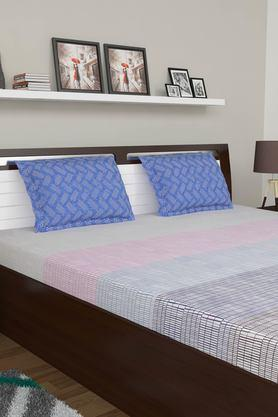 Checks Double Bed Sheet with Pillow Cover
