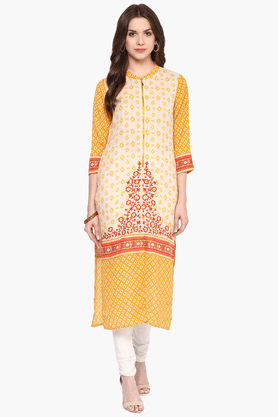FUSION BEATS Womens Slim Fit Printed Kurta - 201553224_9407