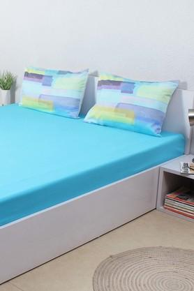 HOUSE THISThe Sticky Tapes 100% Cotton Sateen Double Bed Sheet & 2 Pillow Covers - Blue