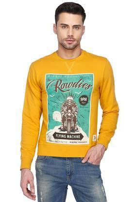 FLYING MACHINEMens Regular Fit Printed Round Neck Sweatshirt
