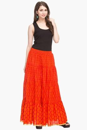 Womens Printed Flared Skirt