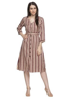 Womens V Neck Stripe Midi Dress