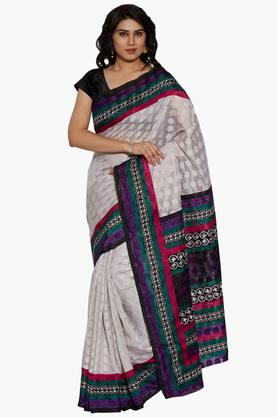 Women Self-Cotton Saree With Printed Border