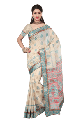 DEMARCAWomen Fancy Cotton Saree (Buy Any Demarca Product & Get A Pair Of Matching Earrings Free)