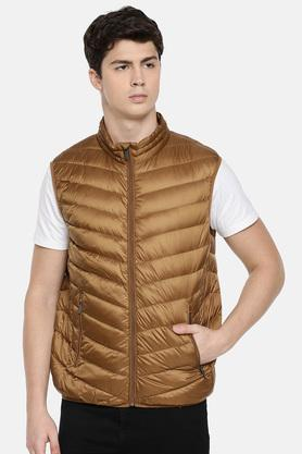 Mens Zip Through Neck Solid Quilted Jacket