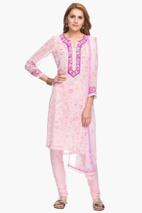 BIBAWomens Notched Neck Printed Embroidered Churidar Suit