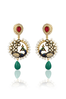 ZAVERI PEARLS Designer Peacock Earrings By Zaveri Pearls- ZPFK1354