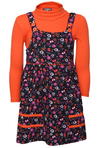 a9e434439b Buy NAUTI NATI Girls Floral Dungaree Dress with T-shirt | Shoppers Stop