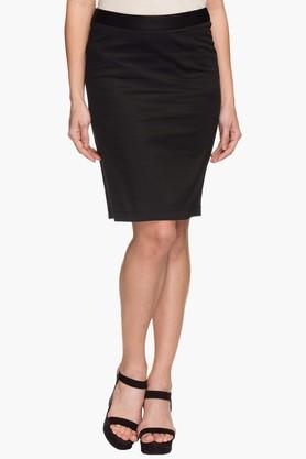 STOP Womens Solid Knee Length Skirt  ...