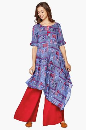 GLOBAL DESI Womens Tie Up Neck Printed Asymmetrical Kurta