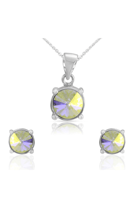 MAHI Mahi Liana Collection Rhodium Plated Made With Swarovski Elements Pendant Set For Women NL1104082R