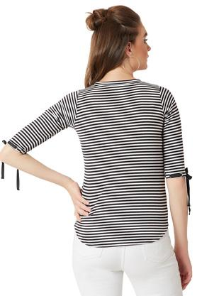 Womens Round Neck Striped High-Low Hemline Cuff Detailing Top