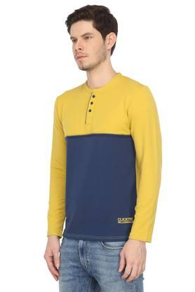 Mens Henley Colour Block T-Shirt