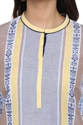 Womens Mandarin Collar Striped Kurta