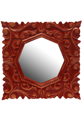 Carved Octoganal Mirror