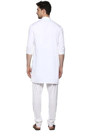 Mens Mandarin Collar Solid Kurta and Churidar Set