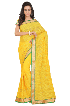 DEMARCAWomen Georgette Saree (Buy Any Demarca Product & Get A Pair Of Matching Earrings Free) - 200875625