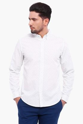 Blue Saint Formal Shirts (Men's) - Mens White Printed  Casual Shirt