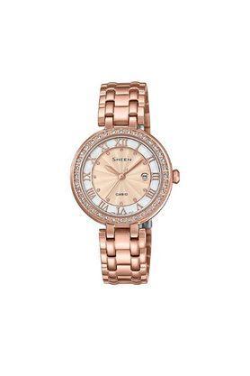 Womens Rose Gold Dial Metallic Analogue Watch - SHE-4034PG-4A