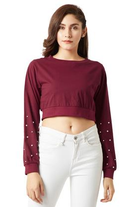 Womens Round Neck Pearl Detailing Crop Top