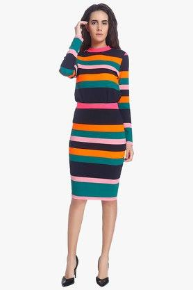 VERO MODA Womens Stripe Knee Length Skirt