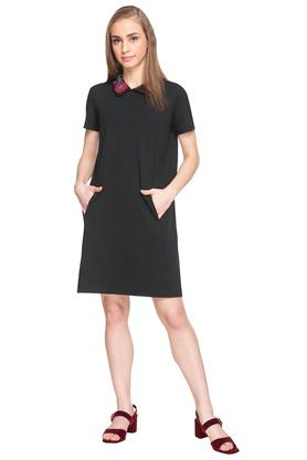 Womens Peter Pan Collar Embroidered A-Line Dress