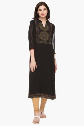 RS BY ROCKY STAR Womens Mandarin Neck Embroidered Kurta