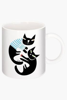 CRUDE AREABlack Cat Printed Ceramic Coffee Mug